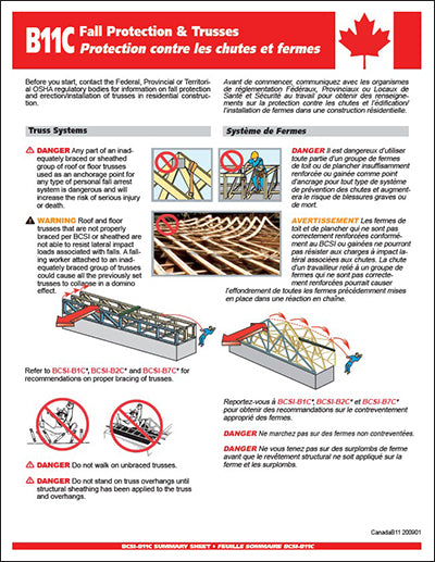 Canadian B11 Summary Sheet - Fall Protection & Trusses (50 sheets)