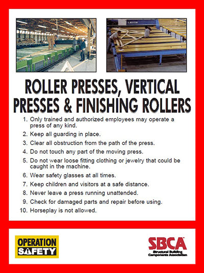 "Truss Press Safety Poster 18"" x 24"""