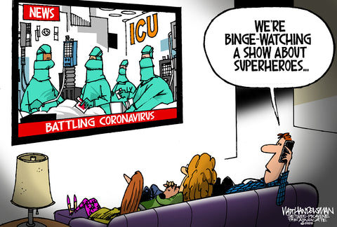 Limited Edition (50) Cartoon from Walt Handelsman - Superheroes