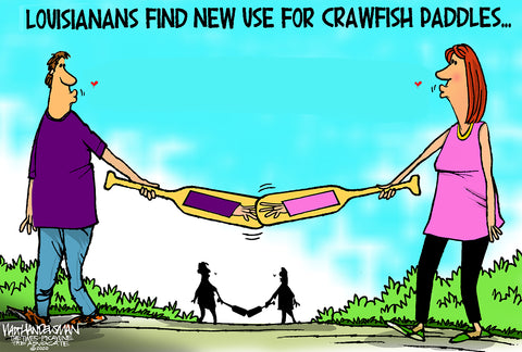 Limited Edition (50) Cartoon from Walt Handelsman - Crawfish Paddles