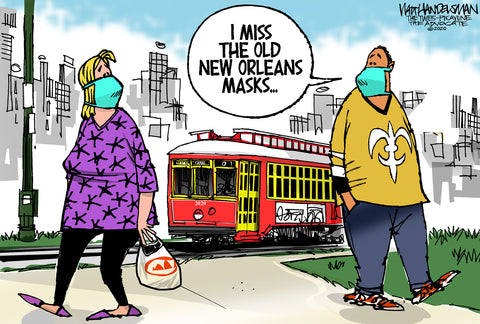 Limited Edition (50) Cartoon from Walt Handelsman - New Orleans Masks