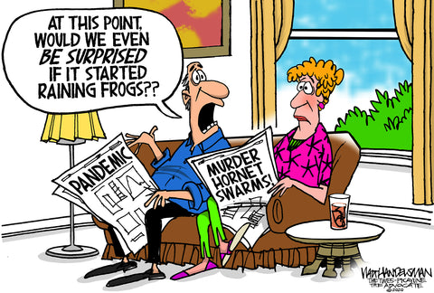 Limited Edition (50) Cartoon from Walt Handelsman - Raining Frogs
