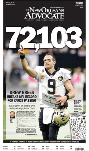 72,103 Drew Brees Breaks NFL Record For Passing Yards