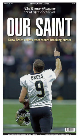 Our Saint - Commemorative Drew Brees front page retirement poster