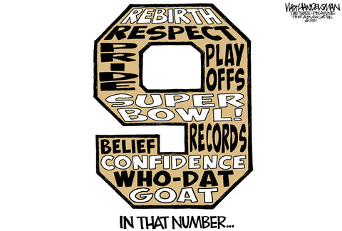 In That Number - Drew Brees Retirement Cartoon by Walt Handelsman