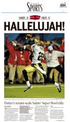 HALLELUJAH! - Saints Super Bowl Sports Front Page 2009
