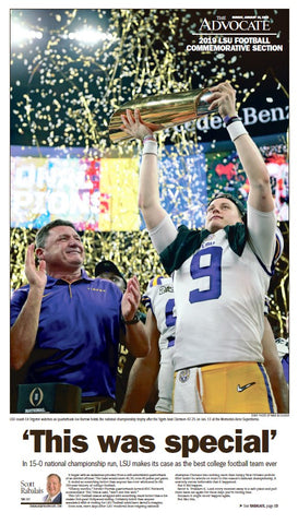 LIMITED: Commemorative Page Front - LSU National Championship Winner 2019-2020