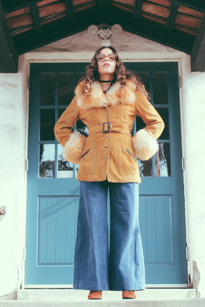 Electric Flower 1960's Mustard Yellow Suede Coat - The Power Plant