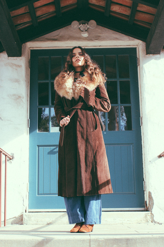 Chocolate City 1970's Suede & Fur Collar Maxi Coat - The Power Plant
