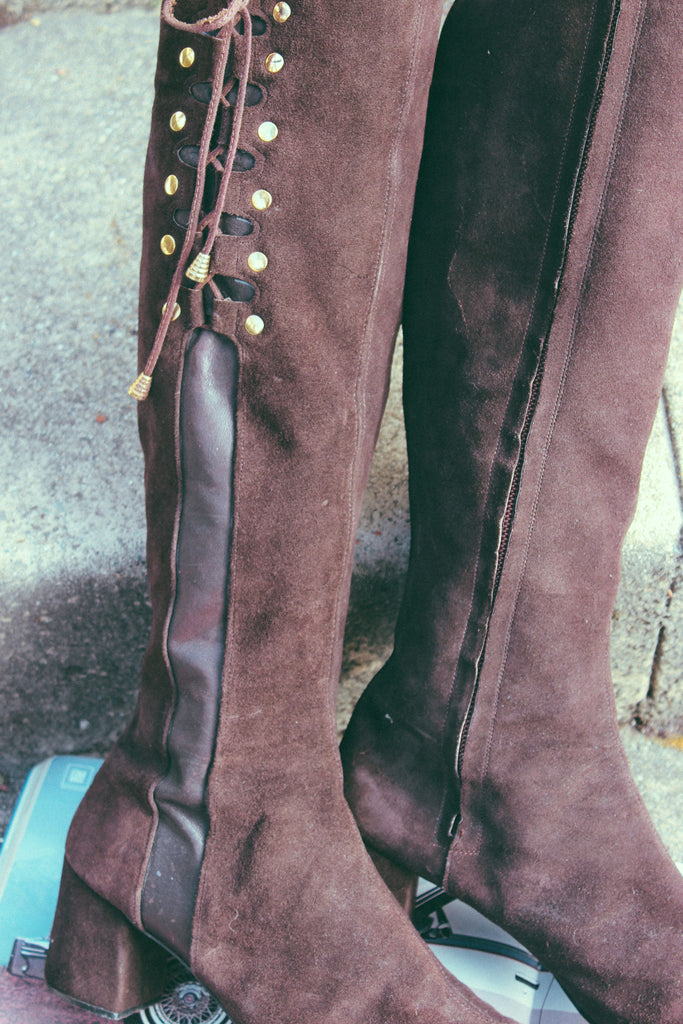 Soul Train 1960's Suede Knee-High Boots - The Power Plant