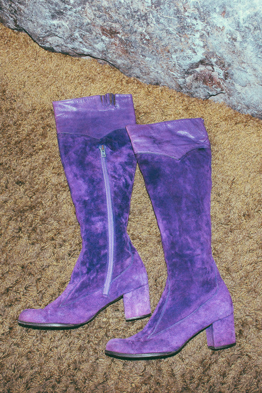 Mushroom Cloud 1960's Rare Purple Suede Knee-High GoGo Boots - The Power Plant