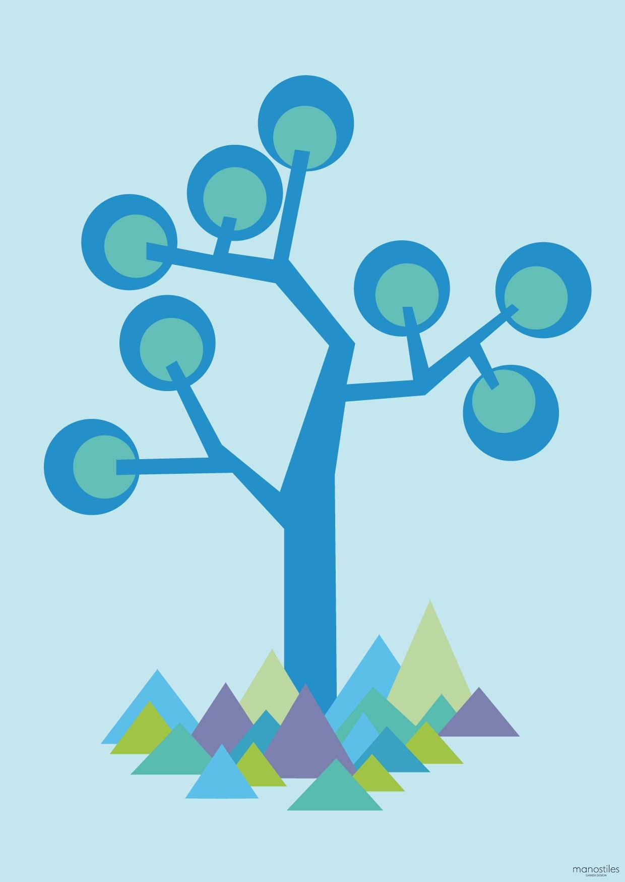 Plakat A3 - graphic tree blue - kidzROOM