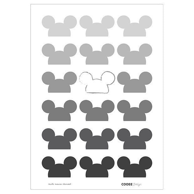 Multi mouse plakat charcoal 50 x 70cm, limited edition fra Cooee Design - hos kidzROOM.dk