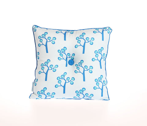 Pude 35 x 35cm - graphic tree blue