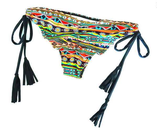 Aztec Fringe Tie Up Bikini Bottoms