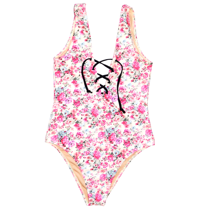 TIE UP FLORAL ONE PIECE SWIMSUIT | JAXON SWIMWEAR