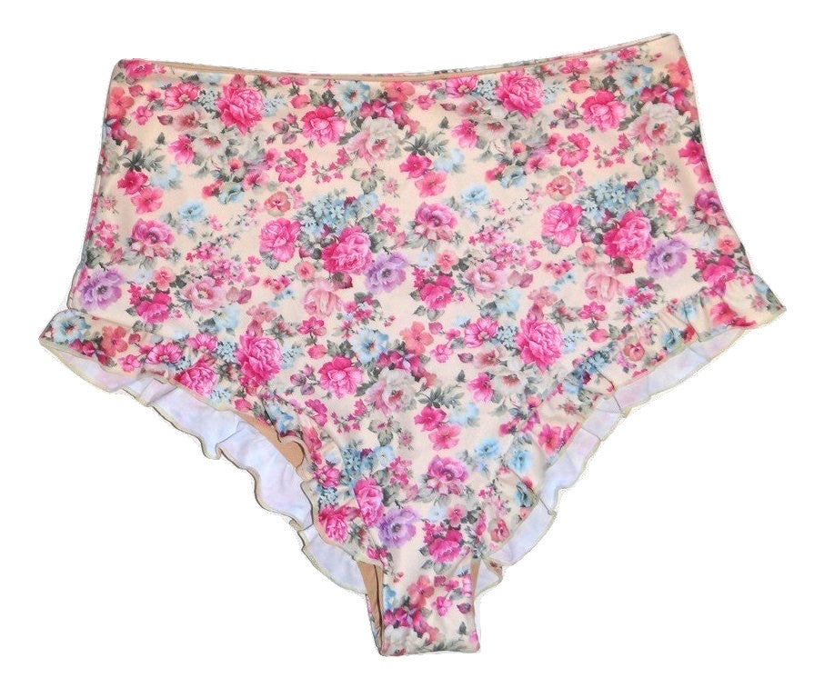 FLORAL HIGHWAIST BIKINI BOTTOM WITH RUFFLE TRIM | JAXON SWIMWEAR