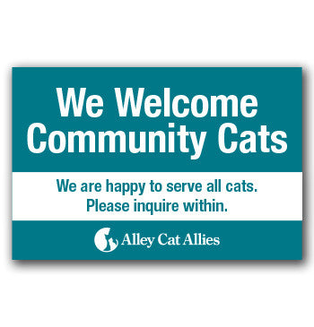 """We Welcome Community Cats"" Veterinarian Window Cling"