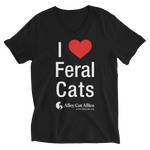 I Heart Feral Cats Unisex Short Sleeve V-Neck T-Shirt