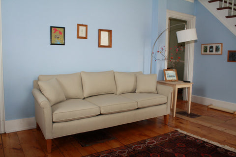 Our Oscar sofa, customized to fit the needs of a young family.