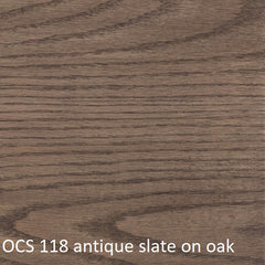 OCS 118 antique slate finish shown on oak