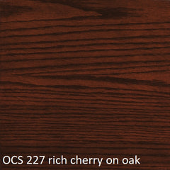 OCS 227 rich cherry finish shown on oak