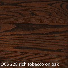 OCS 228 rich tobacco finish shown on oak