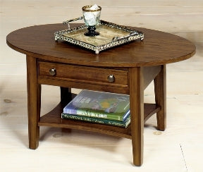 Small Oval Coffee Table with Drawer - Walnut finish - Showroom Models