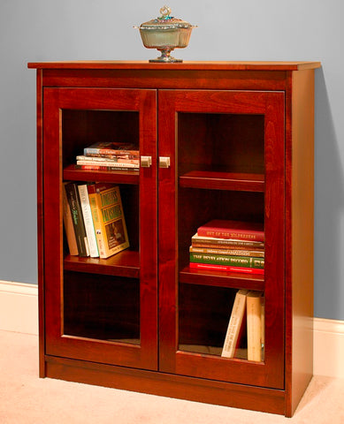 "Candler 40"" bookcase with full length glass doors"