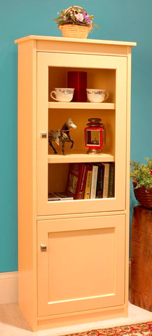 "Candler 60"" tall bookcase with top glass and bottom panel doors"