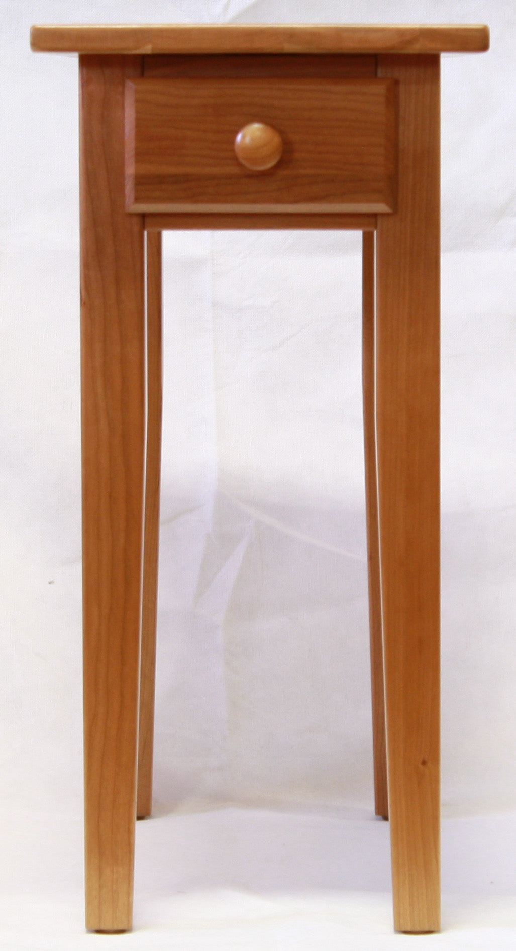 Narrow cherry shaker chairside end table with drawer for for Narrow end table
