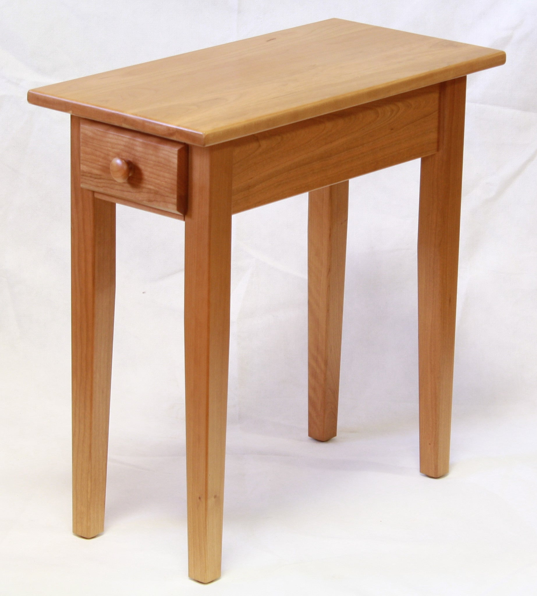 Narrow cherry shaker chairside end table with drawer for for Narrow accent table