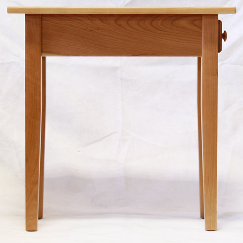Narrow Cherry Shaker Chairside End Table with Drawer, , Occasional Tables - Endicott Home Furnishings - 3