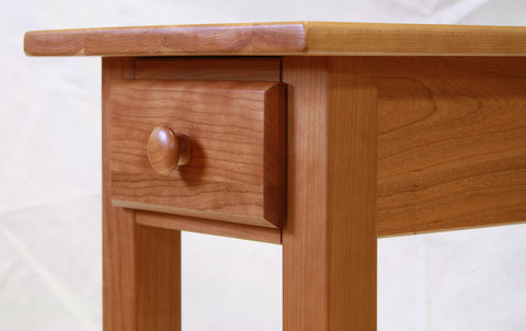 Narrow Cherry Shaker Chairside End Table with Drawer, , Occasional Tables - Endicott Home Furnishings - 4