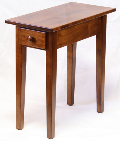 Narrow Maple Shaker Chairside End Table With Drawer   1