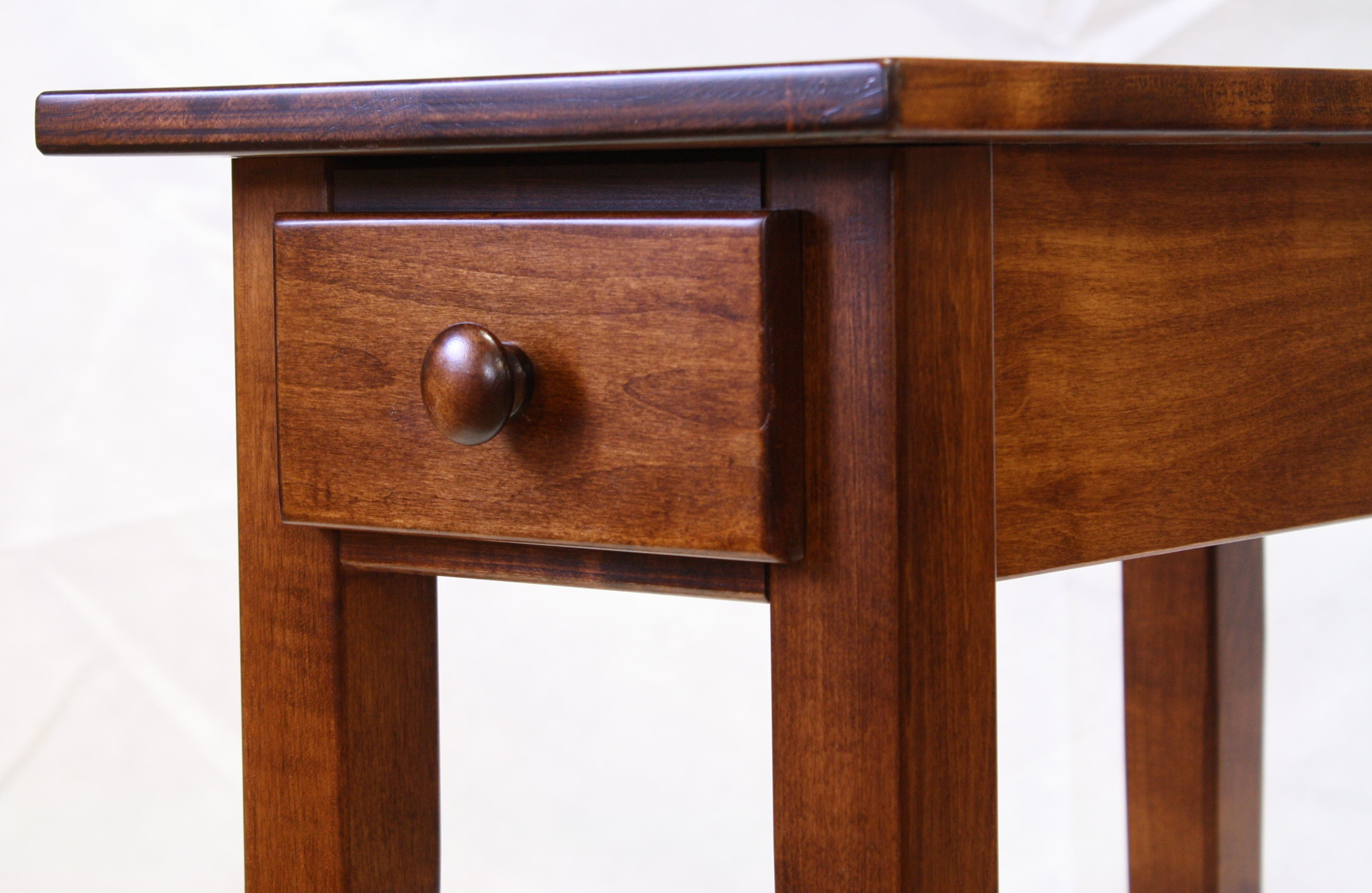 Narrow Cherry Shaker Chairside End Table With Drawer For