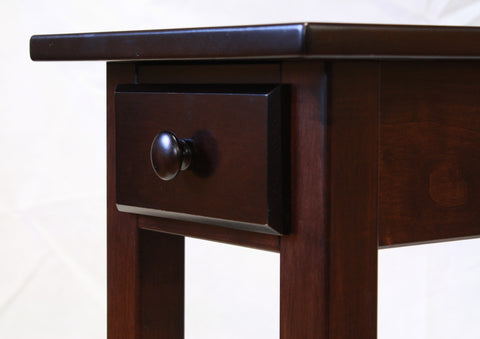 Narrow Maple Shaker Chairside End Table with Drawer  - 4