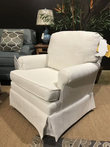 Comfortable smaller swivel glider in Non-toxic, recycled fabric from Endicott Home Furnishings in Maine 01