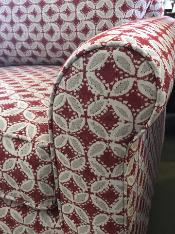 Douglas chair from Condo Furniture by Endicott Home shownin nontoxic fabric arm detail view