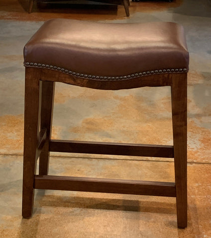 "Brown Leather Hudson 24"" Counter Height Dining Stool - Showroom Models"