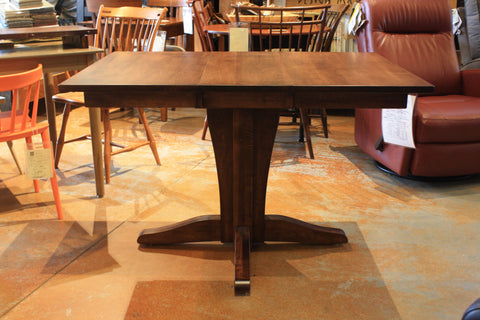 Vintage Single Pedestal Compact Extension Dining Table