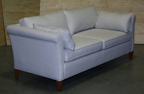 45 degree view of floor model smaller scaled Piper condo sofa from Endicott Home Furnishings in Portland Maine