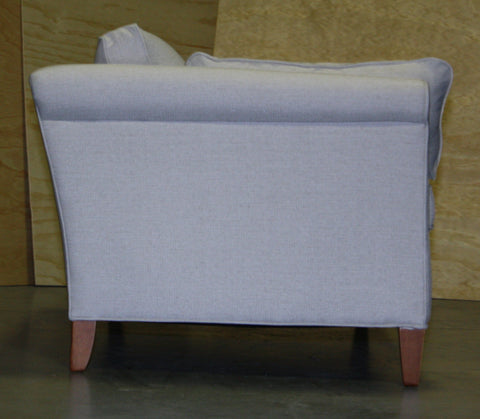 side view of floor model smaller scaled Piper condo sofa from Endicott Home Furnishings in Portland Maine