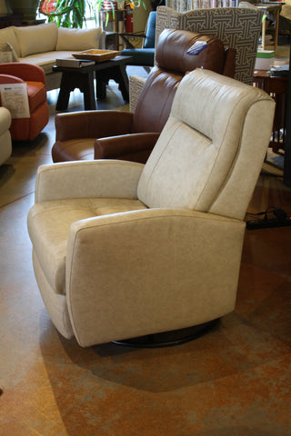 Compact Swivel Glider Recliner in Leather - Showroom Model