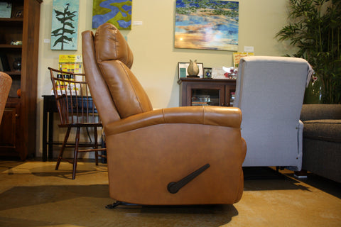 Compact Rocker Recliner in Tan Leather - Showroom Model