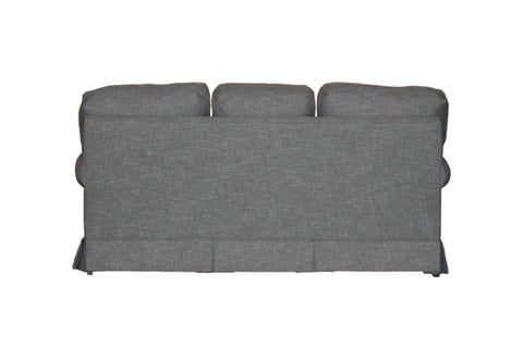 "Temple American New England Classic Panel Arm Skirted 3-cushion 74"" sofa at promotional price with select performance fabrics from Endicott Home - 04"