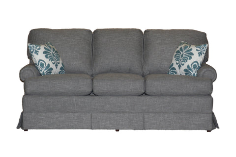 "Temple American New England Classic Panel Arm Skirted 3-cushion 74"" sofa at promotional price with select performance fabrics from Endicott Home - 01"