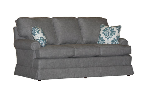"Temple American New England Classic Panel Arm Skirted 3-cushion 74"" sofa at promotional price with select performance fabrics from Endicott Home - 02"