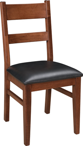 "Huron 17.5"" wide side dining chair shown with leather seat ideal for smaller spaces - 03"
