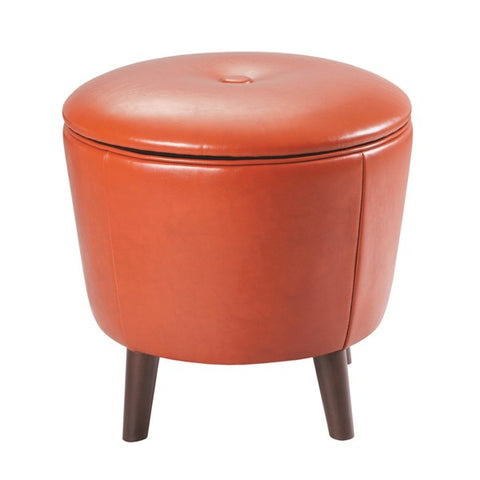 "Fun ""Jetsons"" Sunset Orange Storage Ottoman with botton top lid - Showroom Model"
